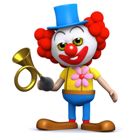 honking: 3d render of a clown honking a horn