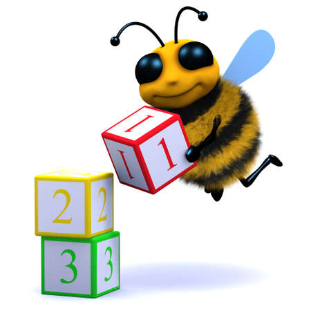 3d render of a bee counting with wooden blocks photo