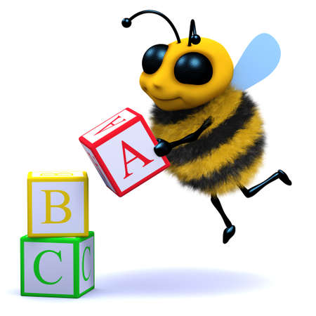 pollinate: 3d render of a bee learning to read Stock Photo