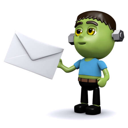 3d render of Frankenstein monster receiving a Halloween invitation photo