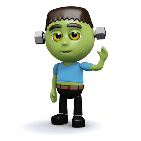 frankenstein: 3d render of Frankenstein monster waving hello Stock Photo