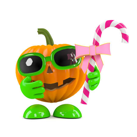 prank: 3d render of a pumpkin head character holding some pink candy Stock Photo