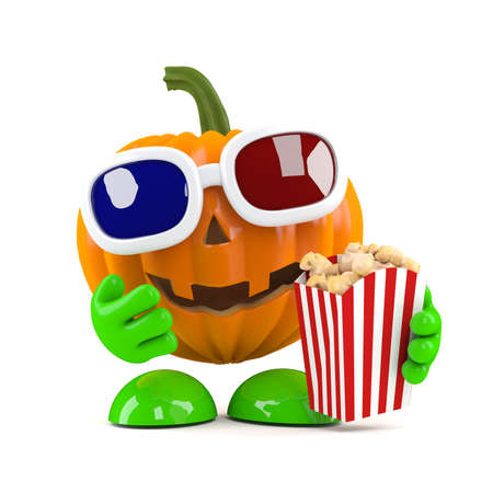 3d render of a pumpkin eating popcorn at the movies photo