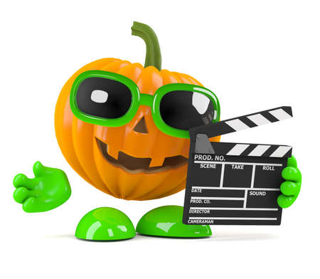 3d render of a pumpkin with clapperboard photo