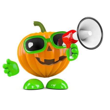 prank: 3d render of a pumpkin shouting through a megaphone Stock Photo