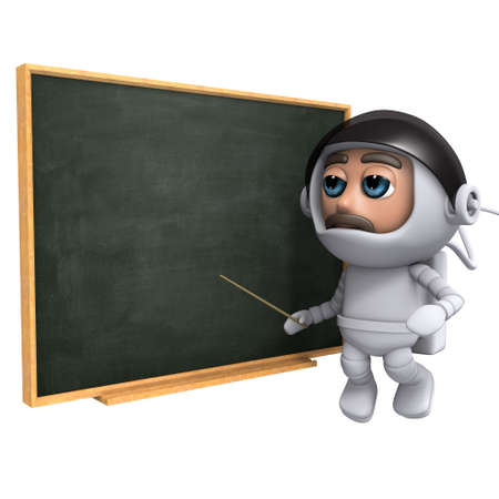 freefall: 3d render of an astronaut floating next to a blackboard Stock Photo
