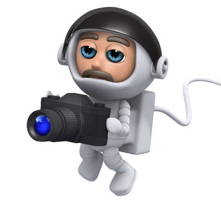 freefall: 3d render of an astronaut holding a camera
