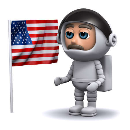 freefall: 3d render of an astronaut standing next to the American flag