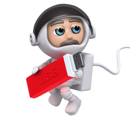 3d render of an astronaut holding a USB stick photo