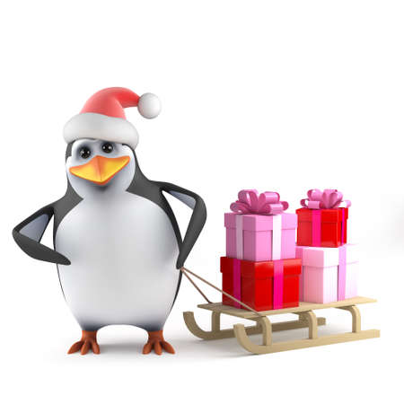 3d render of a penguin wearing a santa hat with a Christmas sleigh full of gifts photo