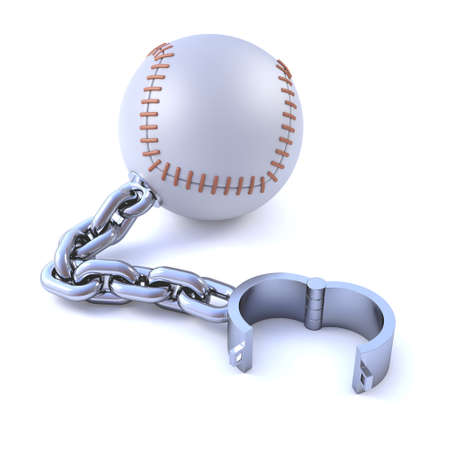 detained: 3d render of a baseball with manacle
