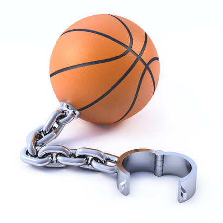 manacle: 3d render of a basketball with manacle