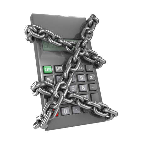 detained: 3d render of a chained up calculator
