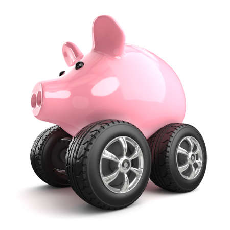3d render of a piggy bank on wheels photo