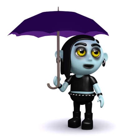 3d render of a goth under an umbrella photo