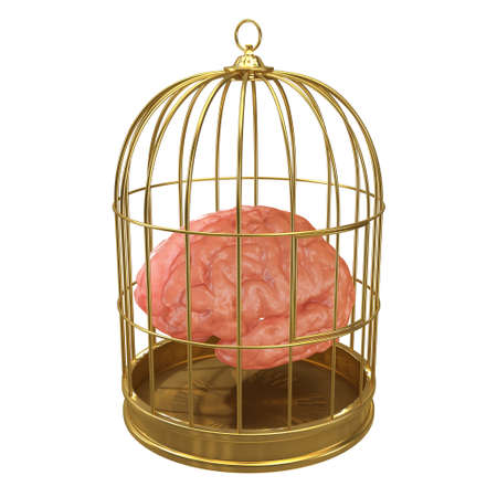 detained: 3d render of a brain in a golden cage Stock Photo