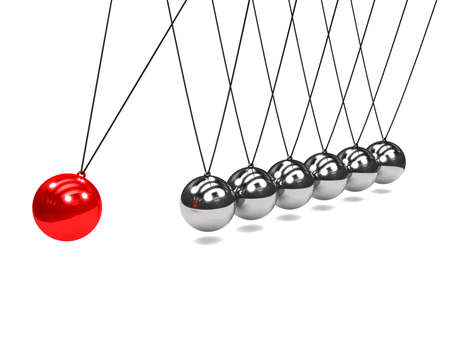 newton's cradle: 3d render of Newtons cradle with red ball striking Stock Photo