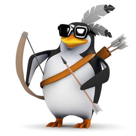 3d render of a penguin carrying a bow and arrow photo
