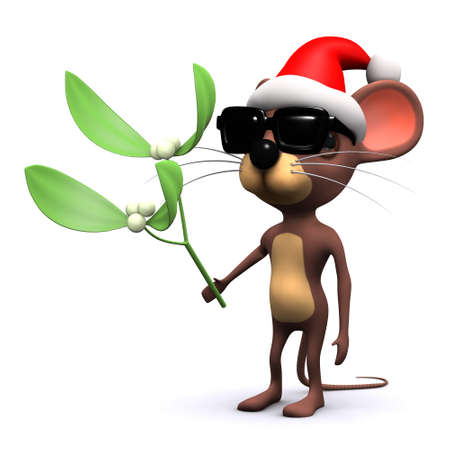 3d render of a mouse dressed as Santa holding mistletoe photo