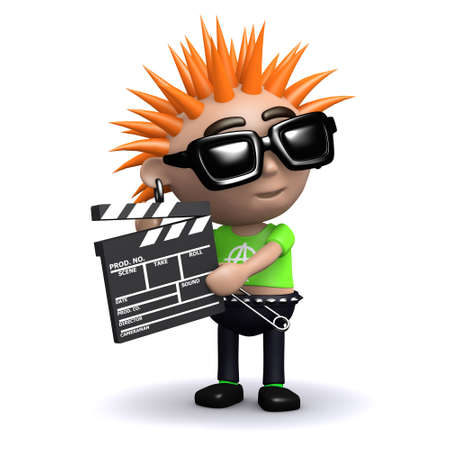 vandal: 3d render of a punk with a clapperboard Stock Photo
