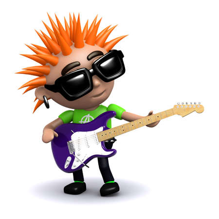 spiky hair: 3d render of a punk playing electric guitar Stock Photo