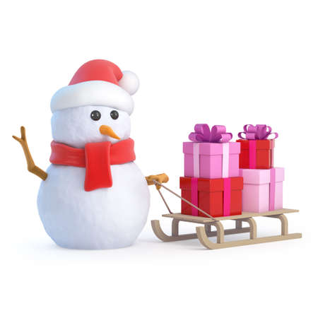 toboggan: 3d render of a snowman in Santa hat pulling a Xmas sleigh full of gifts