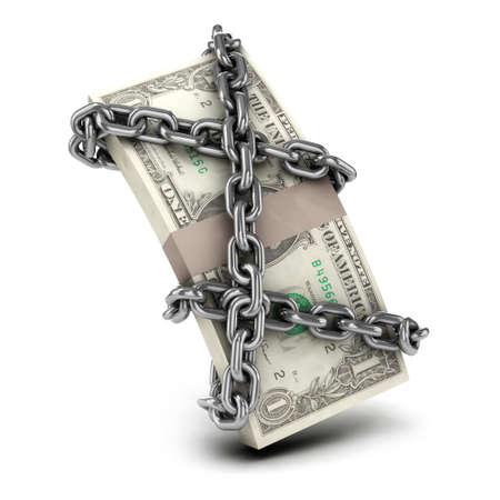 confined: 3d render of US Dollars wrapped in chains