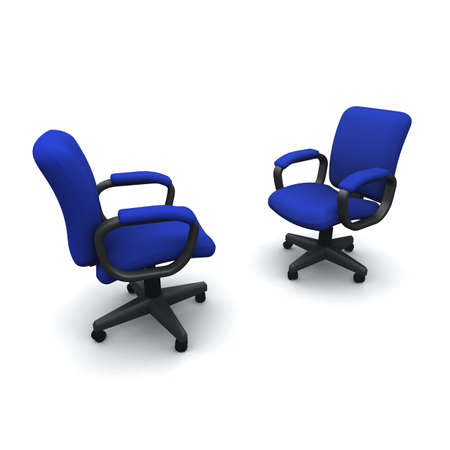 facing: 3d render of two office chairs facing each other