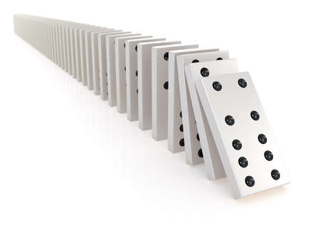domino effect: 3d render of a row of white dominoes falling