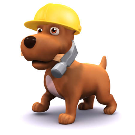 mongrel: 3d render of a puppy dog wearing a hard hat and carrying a hammer
