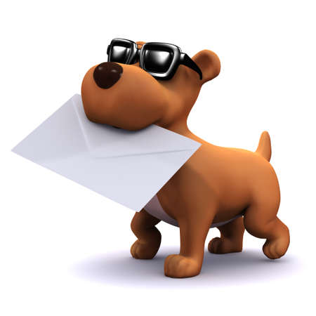 mongrel: 3d render of a puppy dog in sunglasses carrying an envelope in his mouth Stock Photo