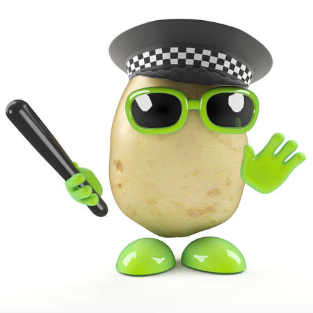 truncheon: 3d render of a potato dressed as a police officer Stock Photo