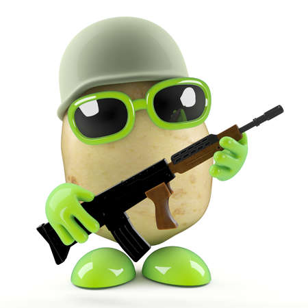 3d render of a potato dressed as a combat ready soldier photo