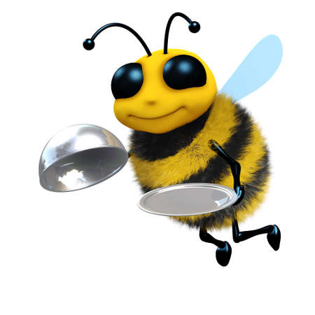 silver service: 3d render of a cute honey bee with silver service platter and lid