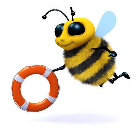 pollinate: 3d render of a cute honey holding a life ring