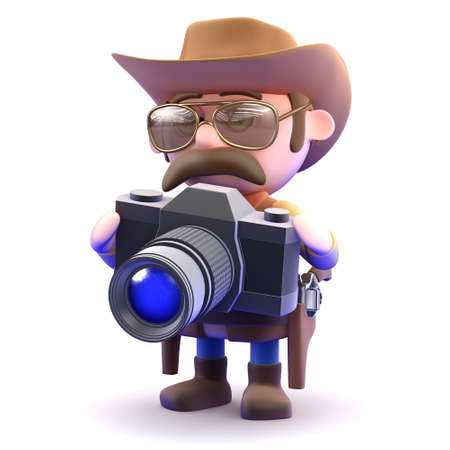 3d render of a cowboy sheriff with his camera photo
