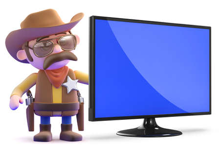 3d render of a cowboy sheriff with a widescreen television monitor photo