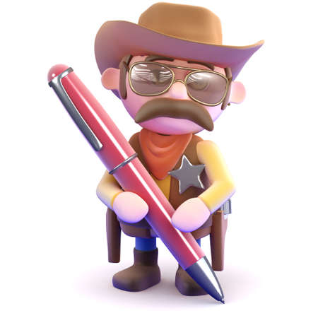 writing western: 3d render of a cowboy sheriff writing with a red pen