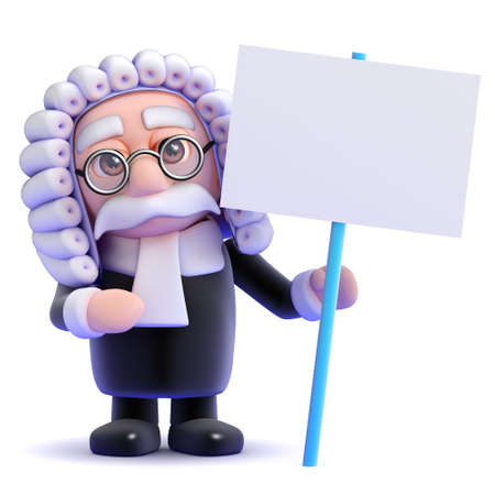 judiciary: 3d render of a judge with a blank placard