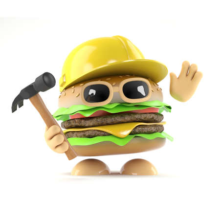 beefburger: 3d render of a beefburger wearing a hard hat and holding a hammer
