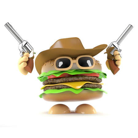 beefburger: 3d render of a beefburger dressed as a cowboy firing two pistols in the air Stock Photo