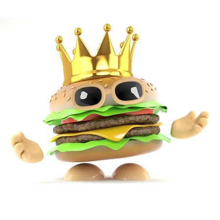 beefburger: 3d render of a beefburger wearing a gold crown