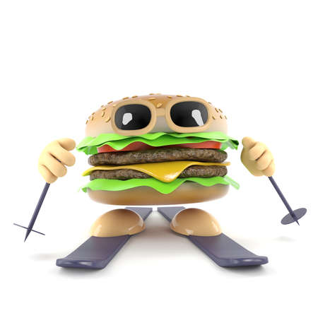 3d render of a beefburger on skis photo