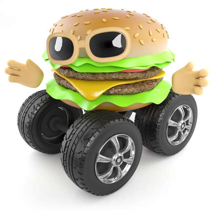 beefburger: 3d render of a beefburger with wheels