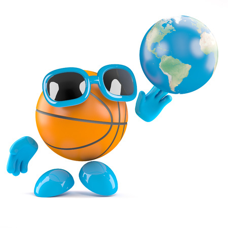 3d render of a basketball character shooting with a globe of the Earth photo