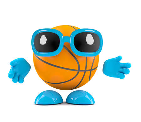 arms outstretched: 3d render of a basketball character arms outstretched Stock Photo