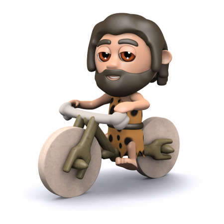stone age: 3d render of a caveman on a stone age bicycle
