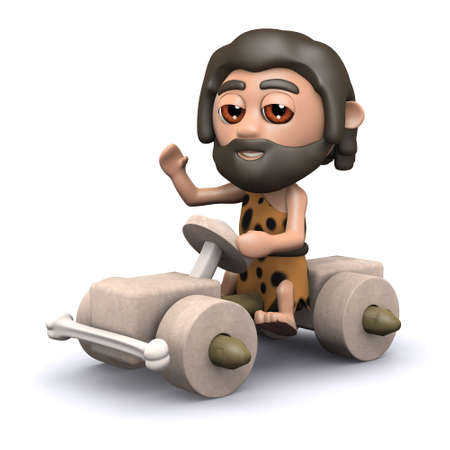 3d render of a caveman driving his stoneage car