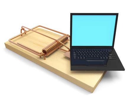 deceptive: 3d render of a mousetrap with laptop bait