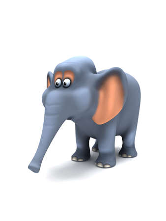 outstretched: 3d render of an elephant with trunk outstretched Stock Photo